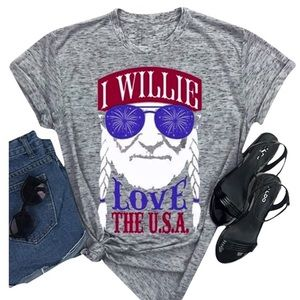Tops - I Willie Love The USA Short Sleeve T-Shirts Top
